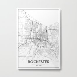 Minimal City Maps - Map Of Rochester, New York, Untited States Metal Print