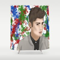 zayn Shower Curtains featuring Zayn 1D by Maranda Rae