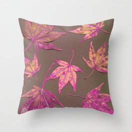 Japanese maple leaves - neon pink on khaki Throw Pillow