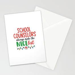Christmas school counselor, nice list Stationery Cards