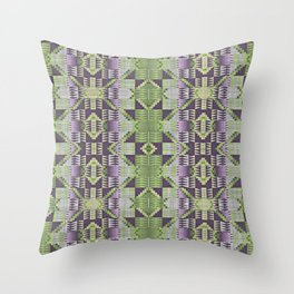 Violet Purple Pink Lime Green Native American Indian Mosaic Pattern Throw Pillow