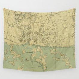 Vintage Map of Port Au Prince Haiti (1899) Wall Tapestry