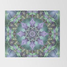 Ribbon Mandala in Blue and Purple Throw Blanket