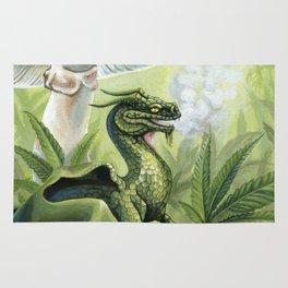 Smoking Dragon in Cannabis Leaves Rug