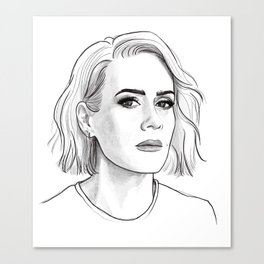 Sarah Paulson pencil portrait Canvas Print