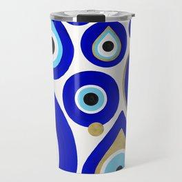 Evil Eye Charms on White Travel Mug