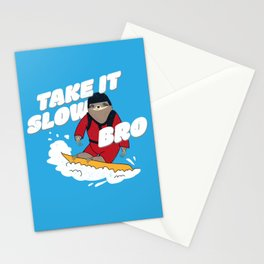 Take it Slow Bro - Funny Snowboarding Sloth Stationery Cards