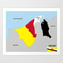political map of brunei country with flag Art Print