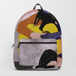Woman with Guitar  Backpack
