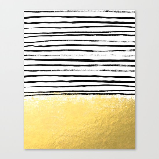 Blaire - Brushed Gold Stripes - black and gold, gold trend, gold phone case, gold cell case Canvas Print