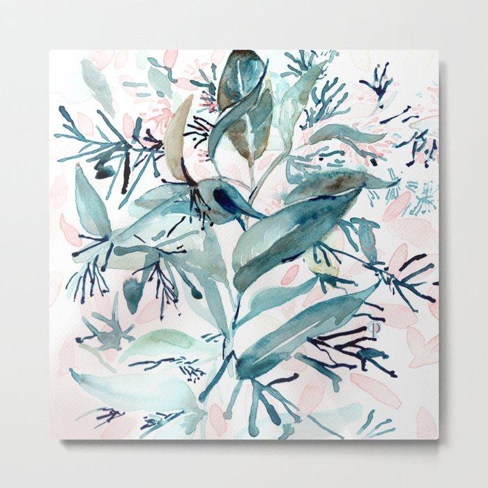 "G. Hand painted watercolor art ""Botanical Illusion"" Metal Print"