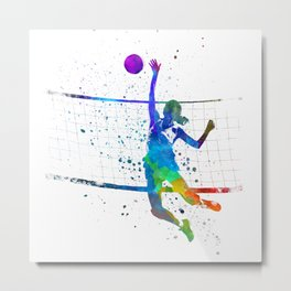 Woman volleyball player in watercolor Metal Print