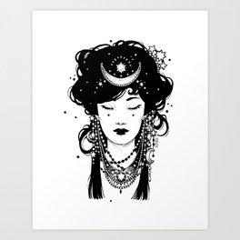 Ink Night Maiden Art Print