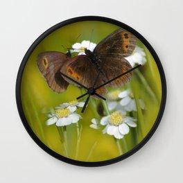Summery Butterflies on Gold Wall Clock