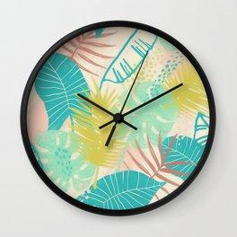 Leaves Palm Tree1 Pattern Wall Clock