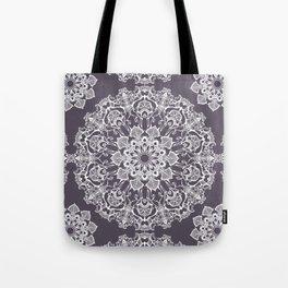 hand drawn white mandala on dark violet background Tote Bag