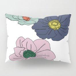 Botanical floral illustration line drawing - Anemone Pillow Sham