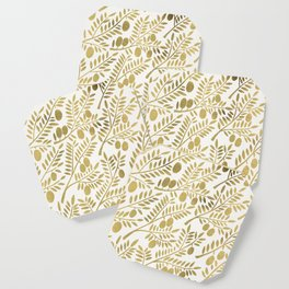 Gold Olive Branches Coaster