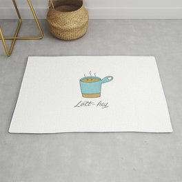 Latt-hey a cute latte coffee with a smile Rug