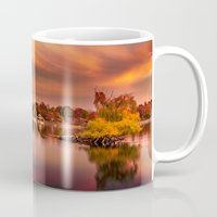 jamaica Mugs featuring Sunset over Jamaica Pond by LudaNayvelt