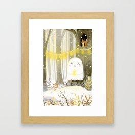 Little ghost and lantern Framed Art Print