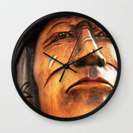 Wooden Native American Indian Wall Clock