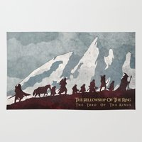 tolkien Area & Throw Rugs featuring The fellowship of the ring by WatercolorGirlArt