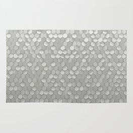 White hexagons Rug