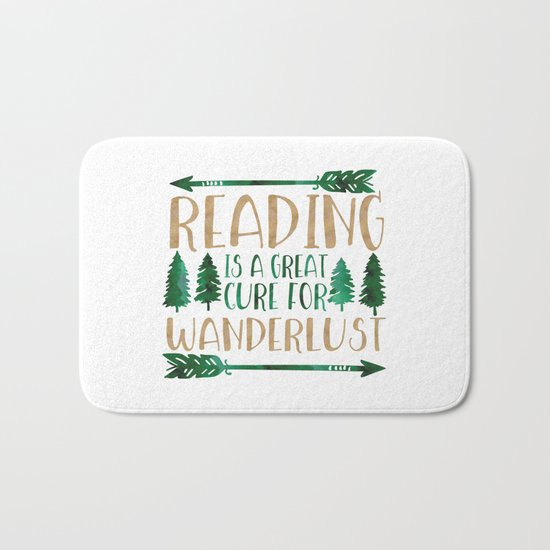 Reading is a Great Cure for Wanderlust (Green/Brown) Bath Mat