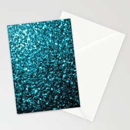 Beautiful Aqua blue glitter sparkles Stationery Cards