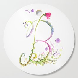 Letter B watercolor - Watercolor Monogram - Watercolor typography - Floral Monogram Cutting Board