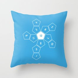 Blue Unrolled D12 Throw Pillow