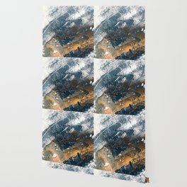 Wander [4]: a vibrant, colorful, abstract in blues, white, and gold Wallpaper