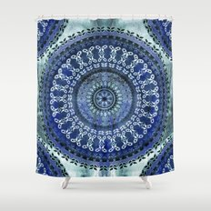 Vintage Blue Wash Mandala Shower Curtain