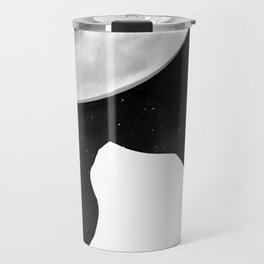 Black And White Dreaming Cat and Moon Design Travel Mug