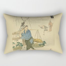 A man selling vegetables on street in Japan Rectangular Pillow