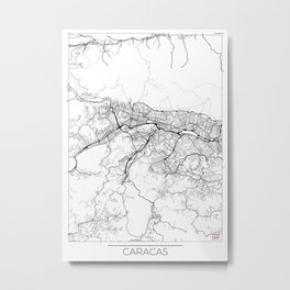 Caracas Map White Metal Print