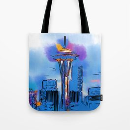 The Space Needle In Soft Abstract Tote Bag