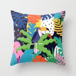 Bold Tropical Jungle Abstraction With Toucan Memphis Style Throw Pillow