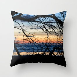 Tree Silhouette Against the Sunset Throw Pillow