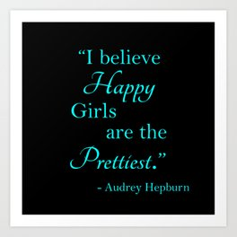 Happy Girls - Blue and Pink Art Print