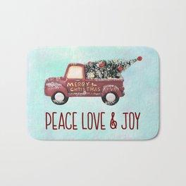Vintage Toy Truck Peace Love & Joy Bath Mat