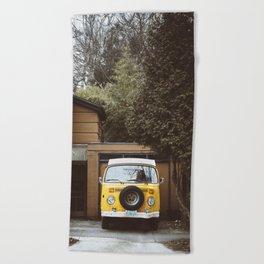 Yellow Van Ready For Road Beach Towel