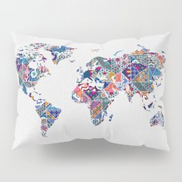 Moroccan Tile Mosaic Pattern World Map Art Pillow Sham