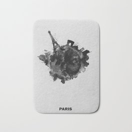 Paris, France Black and White Skyround / Skyline Watercolor Painting Bath Mat