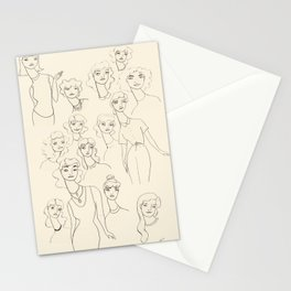 Lady Friends - black on off-white Stationery Cards