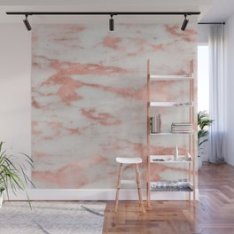 White Marble with Rose Gold Foil Wall Mural