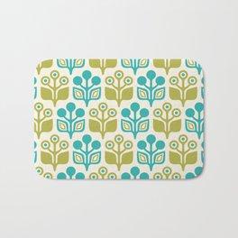 Mid Century Garden Flower Pattern Turquoise Chartreuse Bath Mat