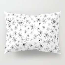 Loopy Flowers - Black on White Pillow Sham