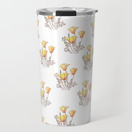California Poppies, Watercolor Poppy Surface Pattern Design Travel Mug